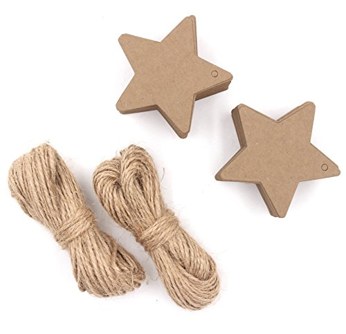 Customized Cardboard Cutouts (Zicome 150 Piece Kraft Paper Gift Tags with 100 Feet Natural Jute Twine, Star)