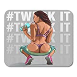 "Boszina Mouse Pads Erotic White Girl Sexy Young Woman Squatting with Bare Ass Swag Booty Mouse Pad 9.5"" x 7.9"" for Notebooks,Desktop Computers Mouse Mats, Office Supplies"