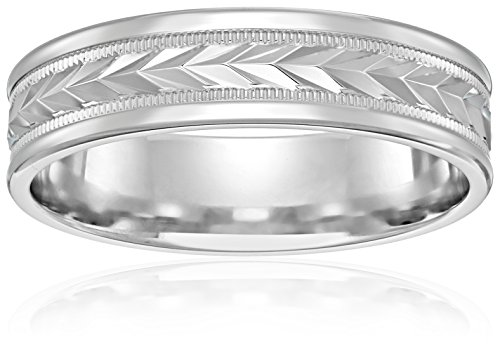 Men's Titanium 6mm Comfort Fit Plain Wedding Band with Satin Finish Featuring Two High Polish Concave Cuts, Size 10.5 (Finish Polish Satin High)