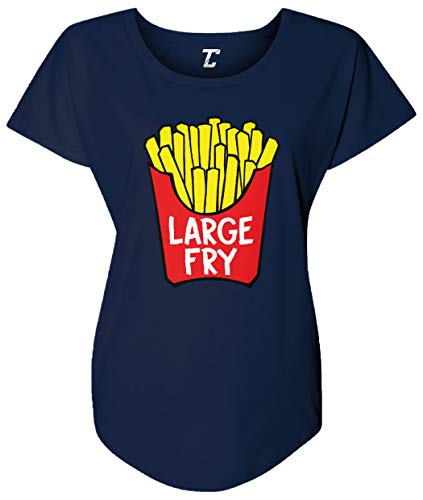 Tcombo Large Fry - French Fries Fast Food Women's Dolman (Navy, X-Large) (Best French Fries In Miami)