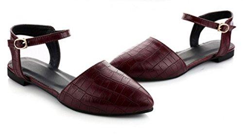 YCMDM sandali di estate nuova marea scarpe britannico in rilievo Fibbia aguzzi piani SCARPE DONNA , red , 39