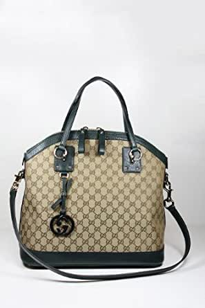 Gucci Handbags Large Beige Fabric and Dark Green Leather 247241 (Limited Color)