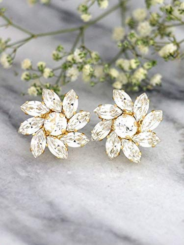 Hollywood Floral Jewelry - Bridal Swarovski Earrings, Gold Clear Cluster Studs, White Floral Crystal Bride and Bridesmaids Earrings, Handmade Wedding and Party Jewelry
