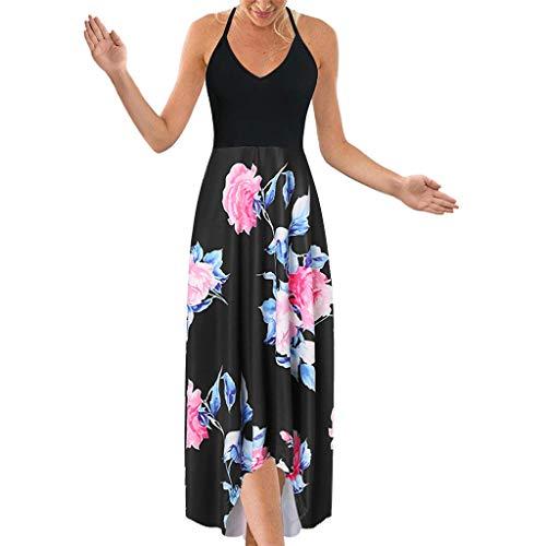 ZSBAYU Women's Halter Neck Deep V Asymmetrical Floral Dress Beach Backless Bohemian Maxi Long Dress(Color 5,M) -