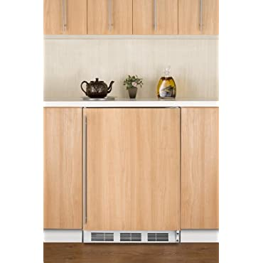 Summit AL750BI 24 All-Refrigerator with 5.5 Cu. Ft. Capacity Automatic Defrost Adjustable Glass Shelves Adjustable Thermostat and Fully Finished Cabinet in Panel