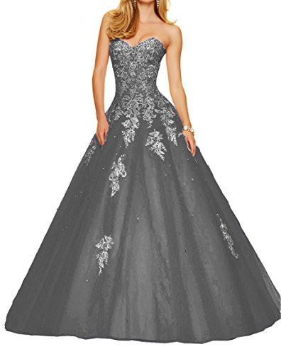e8c312f4db9 Elley Women s Sweetheart Applique Bodice Strapless Formal Ball Gown Prom  Dress