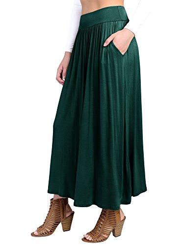 Fashion California FACA Womens High Waist Shirring Maxi Skirt Ankle Length With Pockets (X-Large, Dark Hunter Green)