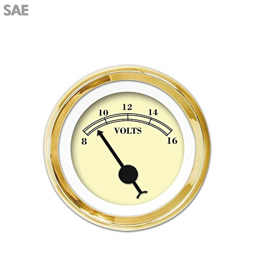 Aurora Instruments 941 American Classic Tan SAE Volt Gauge Black Classic Needles, Gold Trim Rings, Style Kit Installed
