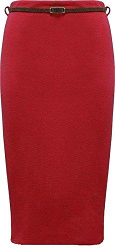 Neue Frauen Plus Size gerippt Bodycon Midi Belted Bleistiftröcke 44 Red