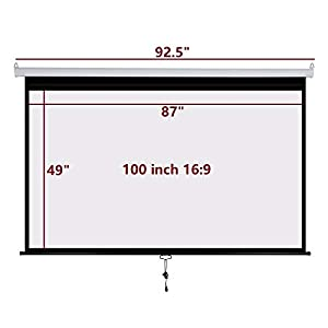 Projector Screen Manual Pull Down 100 inch 16:9 Projection Movies Screens HD Wrinkle-Free for Home Theater School Office Indoor LYH