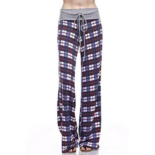 Leggings,UPLOTER Women's Plaid Printed Drawstring Wide Leg Long Pants Casual Pants (M, A)