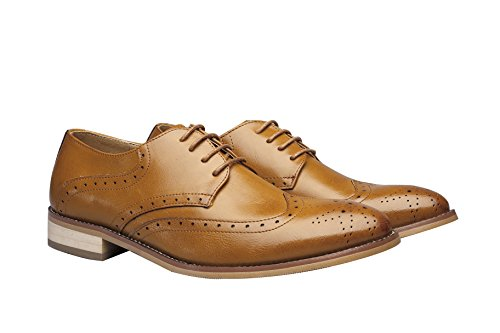 Santimon Dress Shoes For Mens Leather Classic Flats Slip on Oxfords Wingtip Lace Leisure Casual Shoes Brown PhNkBi