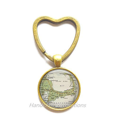 (Charming Heart Keychain Cape Cod map Key Ring, Cape Cod Key Ring, resin Key Ring, Cape Cod Heart Keychain map jewelry,A0030)