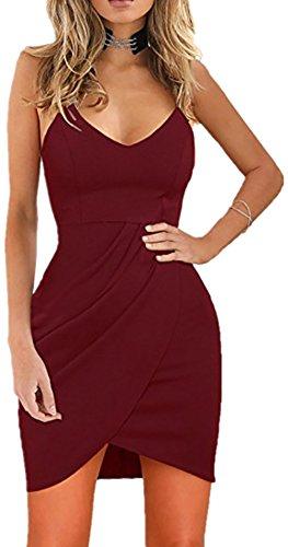 Rozegaga Womens Deep V Neck Spaghetti Straps Sleeveless Open Back Mini Club Bodycon Dress Medium Wine - Mini Back Strap
