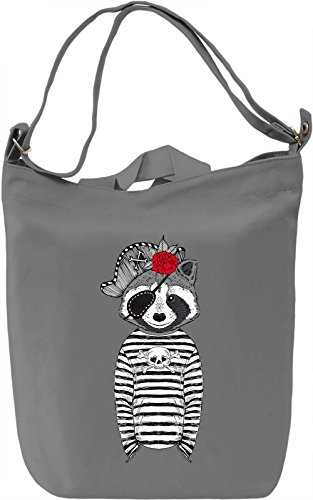 Pirate racoon Borsa Giornaliera Canvas Canvas Day Bag| 100% Premium Cotton Canvas| DTG Printing|