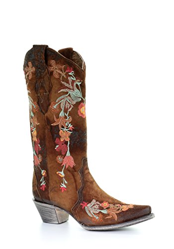 Corral Women's Lindsey Floral Embroidery Leather Cowgirl Boots - Chocolate ()
