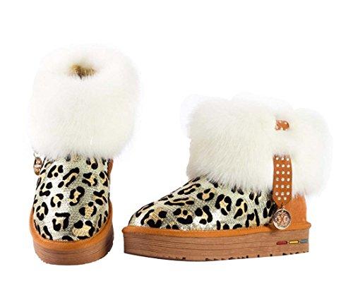 Diamonds Snow 5890 Nubuck Leopard Damen Braun HooH Boots qpTR6tx