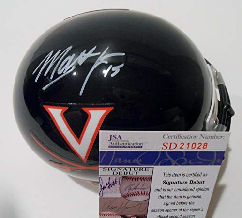 (Matt Johns Autographed Signed Memorabilia Uva Virginia Cavaliers Mini Helmet With - JSA Authentic)
