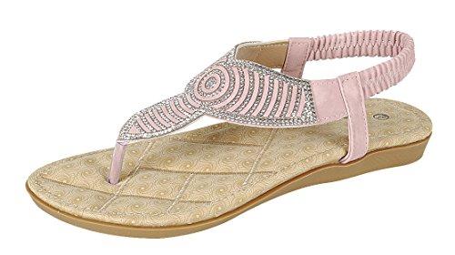 Cambridge Select Dames T-strap String Kristal Strass Glitter Stretch Slingback Vlak Sandaal Stoffig Roze