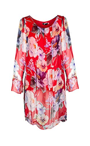M Made in Italy - Women's Long Sleeve Floral Dress (Red, S) ()
