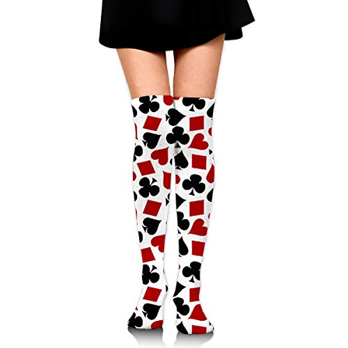 Over Knee High Tube Stockings Poker Playing Card Suit Pattern Fabric Long Tube Socks Compresson Socks For Women And Girls