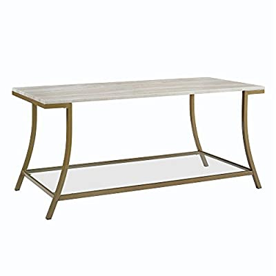 Novogratz Cecilia Coffee Table, Soft Brass, Faux Marble - Modern coffee table Soft brass metal frame with tempered glass lower shelf and smooth faux marble tabletop Simple and sturdy design - living-room-furniture, living-room, coffee-tables - 41f rNtqVtL. SS400  -