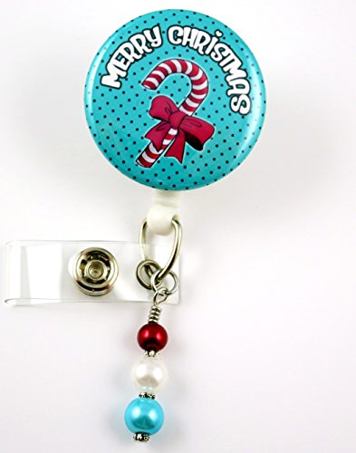 Merry Christmas Candy Cane -Nurse Badge Reel - Retractable ID Badge Holder - Nurse Badge - Badge Clip - Badge Reels - Pediatric - RN - Name Badge Holder