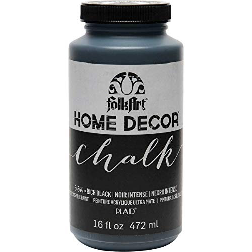 FolkArt 34844 Home Decor Chalk Furniture & Craft Paint in Assorted Colors, 16 Ounce, Rich Black]()