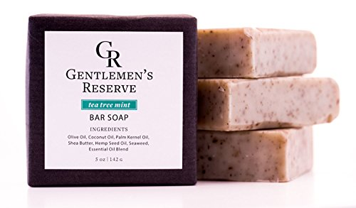 Mens All Natural Handmade Exfoliating Bar Soap - Made with 58% Cold Pressed Olive Oil & Coconut Oil