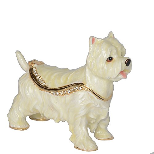 Jiaheyou Westie Dog Pewter Jeweled Trinket Jewelry Keepsake Box Dog Miniature Sculpture