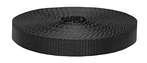(Strapworks Colored Flat Nylon Webbing - Strap for Arts and Crafts, Dog Leashes, Outdoor Activities - 1 Inch x 10 Yards, Black)