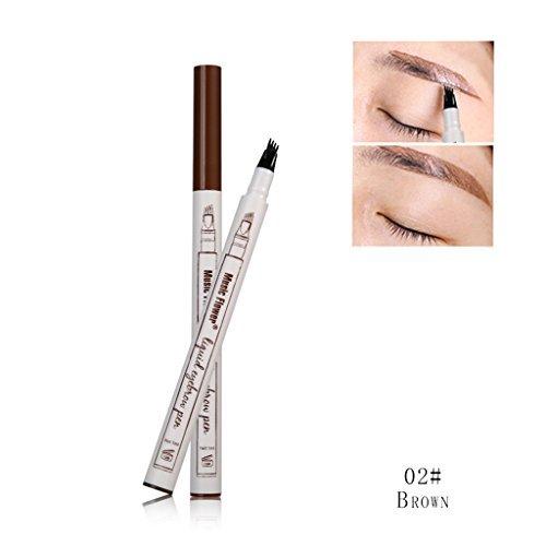02 Flower - EA-STONE Music Flower Eyebrow Pen With Eyebrow Comb,Eyebrow Long Lasting Tint Dye Cream,Waterproof,Smudge-proof (02 Brown)