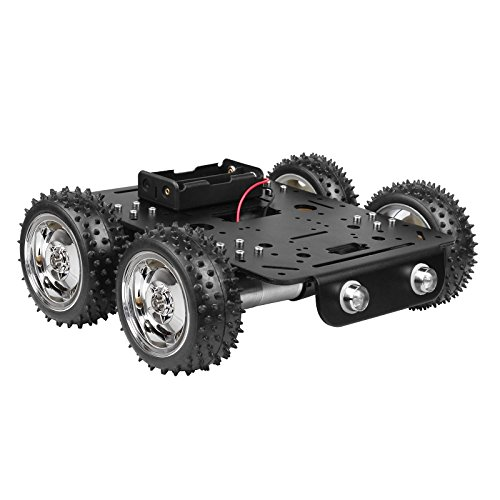 4WD Obstacles Crossing Robot Smart Car Chassis Kit - Aluminum Alloy Chassis + 4 pcs DC 9V Hall speed Motor + Off-Road Rubber Tire 3.1'' for Arduino Raspberry Pi DIY STEM Education (9.0x8.2x3.5inch)