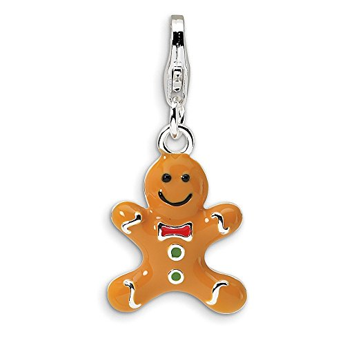 925 Sterling Silver Rhodium-plated 3-D Enameled Gingerbread Cookie with Lobster Clasp Charm