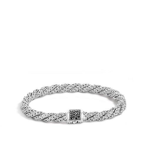 John Hardy WOMEN's Twist Chain Silver Lava Small Flat Bracelet with Pusher Clasp with Black Sapphire, Size M - BBS996974BLSXM
