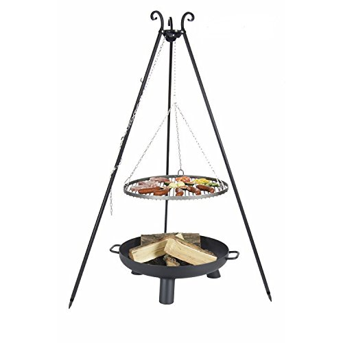 Hanging Grill Pan Three Legged Stainless Steel 70cm incl. Fire Pit