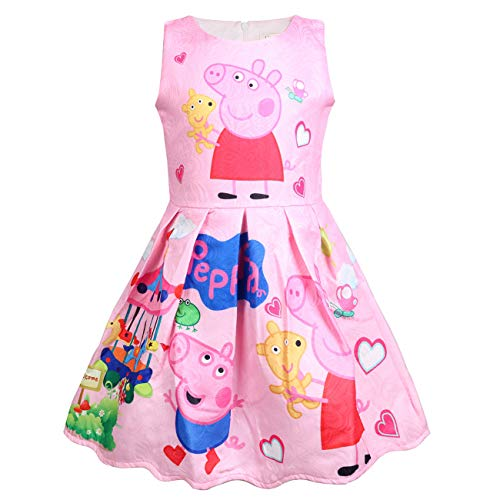 Girl's Princess Little Pig Dress Pink Party Sleeveless Dresses 4-5Y