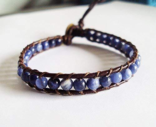 Kyanite bracelets,stone bracelets,blue bracelets,leather bracelets,wrap,men bracelets,women bracelets,fashion bracelets