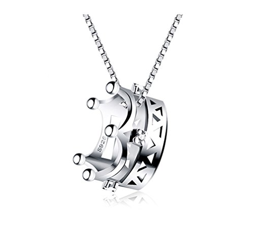 (Elensan Crown 925 Sterling Silver Pendant Necklaces with CZ for Woman Girls(White Gold))