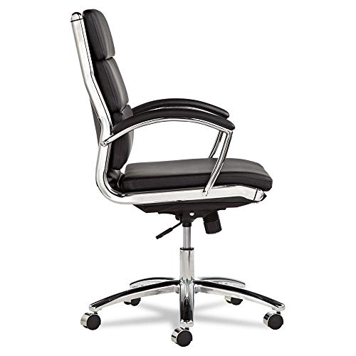 Leather Mid Back Chair - Alera ALENR4219 Neratoli Series Mid-Back Swivel/Tilt Chair, Black Leather, Chrome Frame