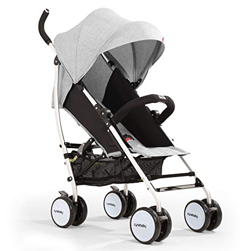 Umbrella Baby Stroller Lightweight Compact Stroller All Terrain Convenience Carriage Stroller Travel Tall Pram for Toddler Big Kids Single Stroller (Bright Grey)
