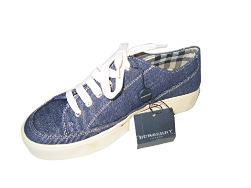 Burberry Sneaker Running Walking Shoes Blue Jean Canvas with logo accent Size 41, 39 (39)