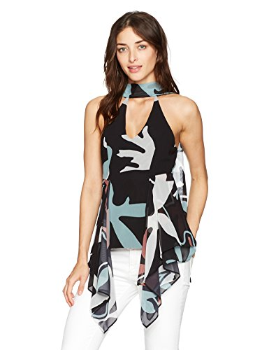 C/MEO COLLECTIVE Women's Take a Hold Printed Sleeveless Top, Black Aspect, Medium by C/MEO COLLECTIVE