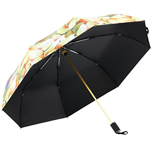 Kobold Travel Umbrella Windproof 3D Bloom Art Design 3 Fold Compact For Sun Rain UV, Soft Handle Anti - 3d Movies Hit