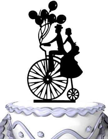 Decoración para tarta de boda con globos y silueta victoriana para ...