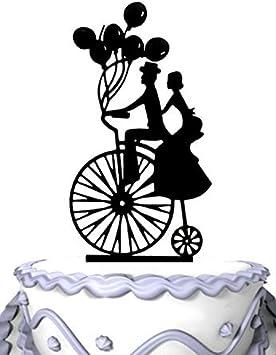 Decoración para tarta de boda con globos y silueta victoriana para novio y novia en la bicicleta: Amazon.es: Hogar