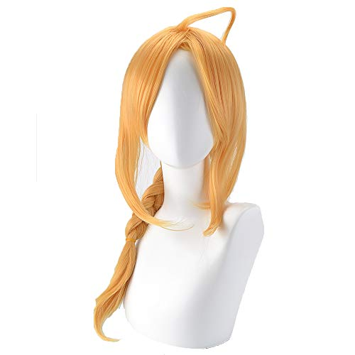 GOOACTION Long Golden Blonde Braid Pigtail Wig for Fullmetal Alchemist Edward Elric Anime Cosplay Custome Synthetic Hair Wigs]()