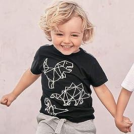 Lukame✯ Toddler Kids Baby Boys Fashion Dinosaur Printed T-Shirt Tops Shorts Outfits Set (Black, 5T)