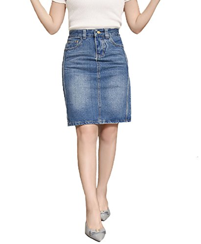 High Waist Denim Skirts (WOTEAY Women's High Waist Denim Skirt, Slim Knee Length Blue Jeans Skirts for Girls (XL))