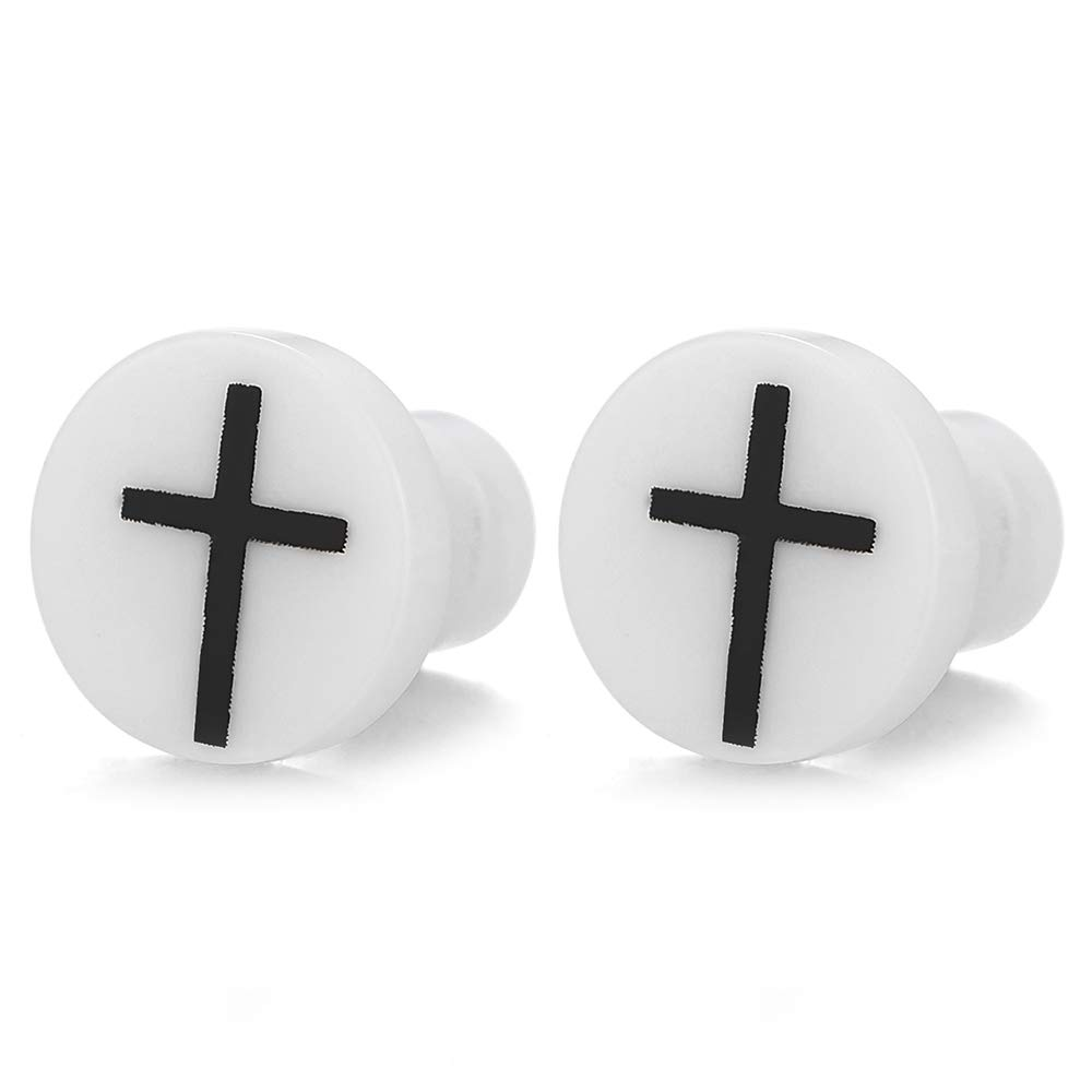 Steel Black Cross White Circle Screw Stud Earrings for Women Men Screw Back